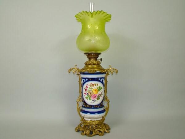 OLBRZYMIA LAMPA NAFTOWA NA BRĄZACH MALOWANA A-1785