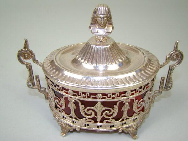 SREBRNA CUKIERNICA W STYLU EGIPSKIM MINERWA A-1817