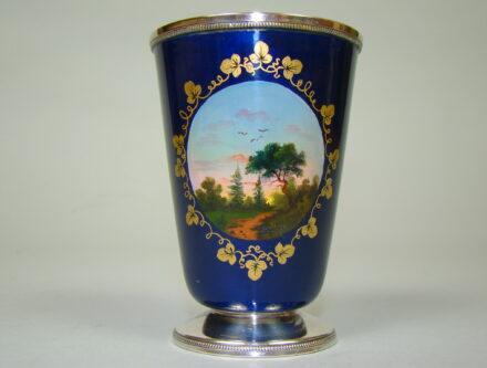 ROSJA SREBRNY RĘCZNIE MALOWANY KUBEK A-1823