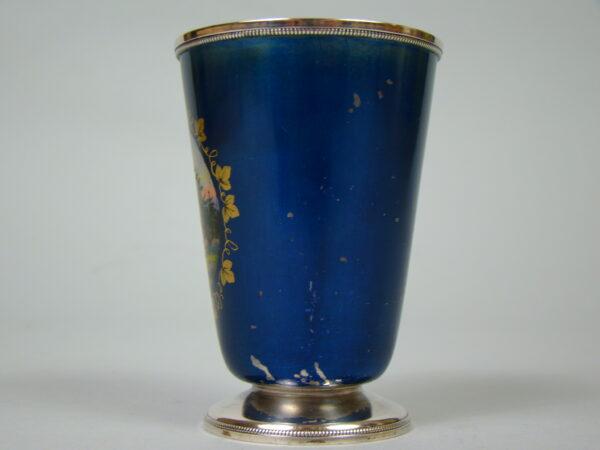 ROSJA SREBRNY RĘCZNIE MALOWANY KUBEK A-1824